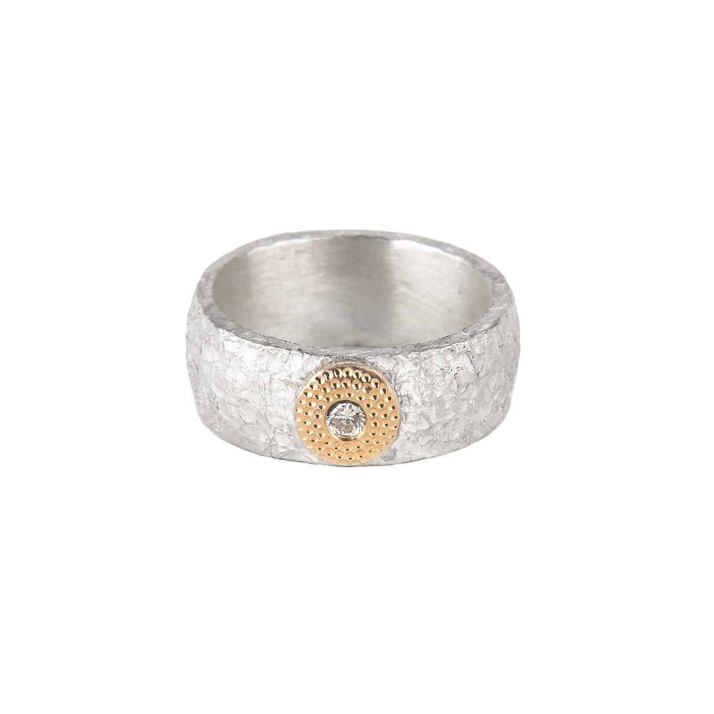 Silver Diamond Ring with Gold Decor