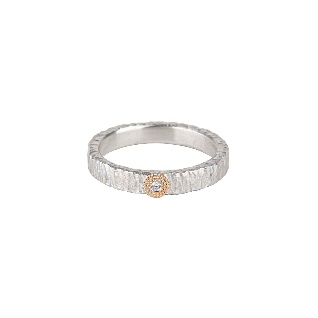 Narrow Silver Diamond Ring
