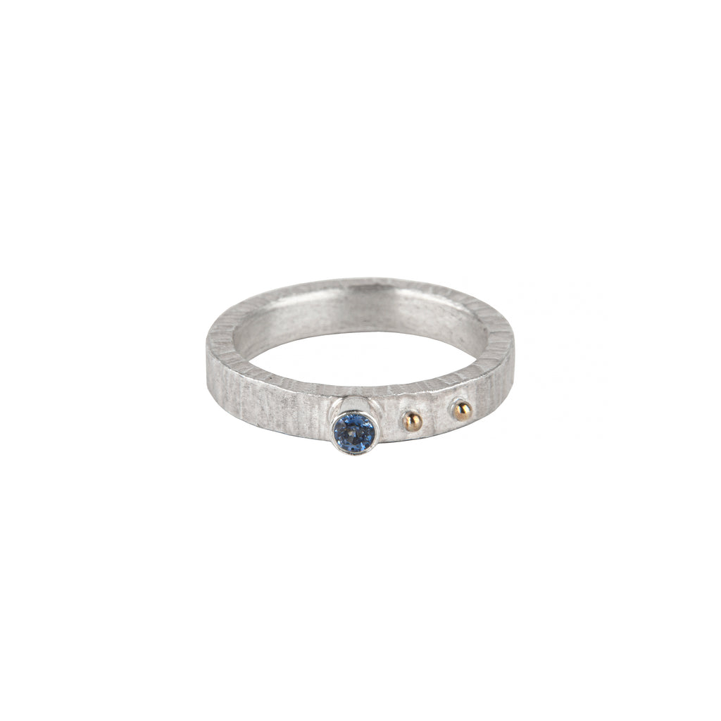 Narrow Silver Sapphire Ring
