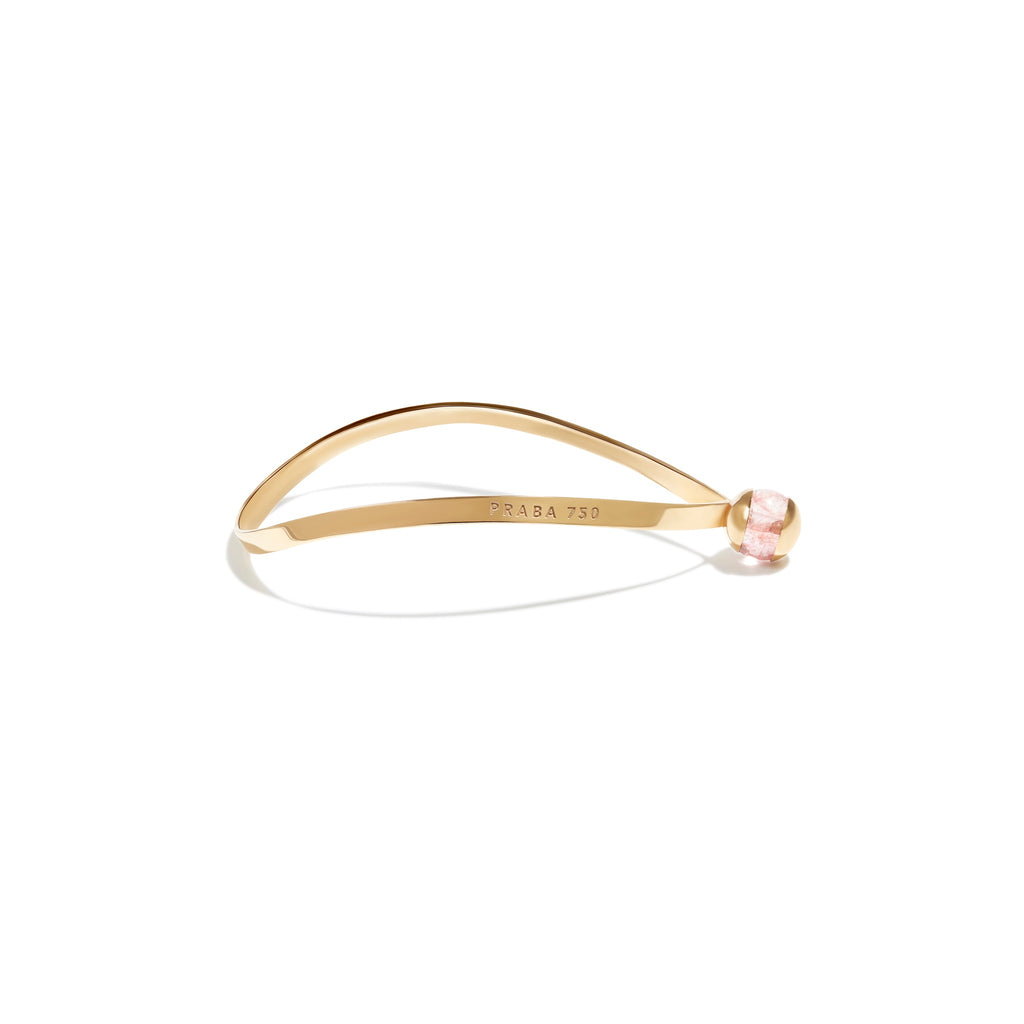 Gold Plated Silver Bracelet With Rose Quartz