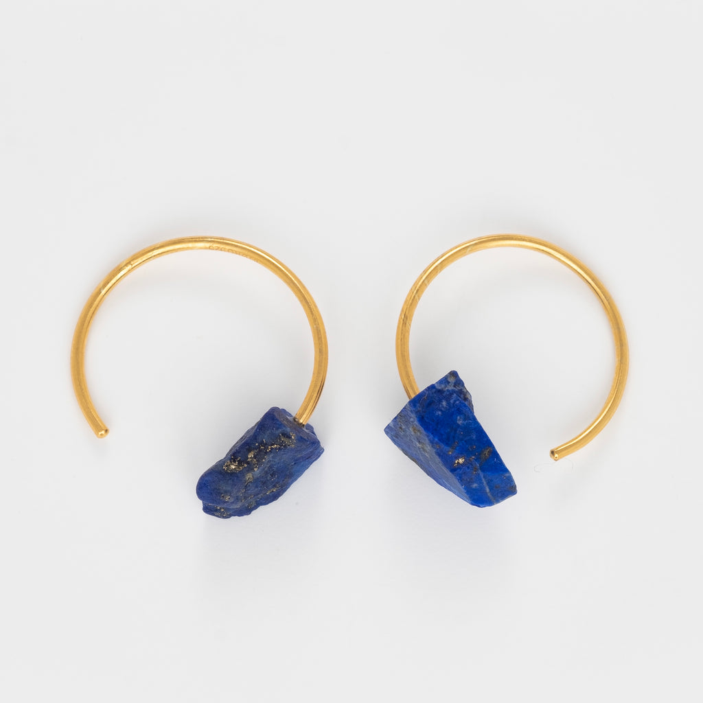 Crystalline Rainbows Hoops with Lapis