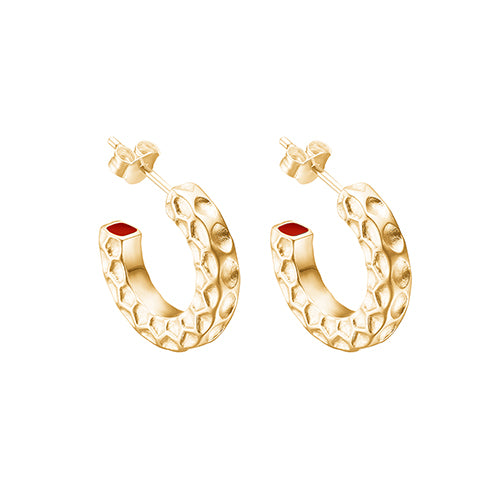 "Gold Plated Silver Hoops ""Red Hidden Spot"""