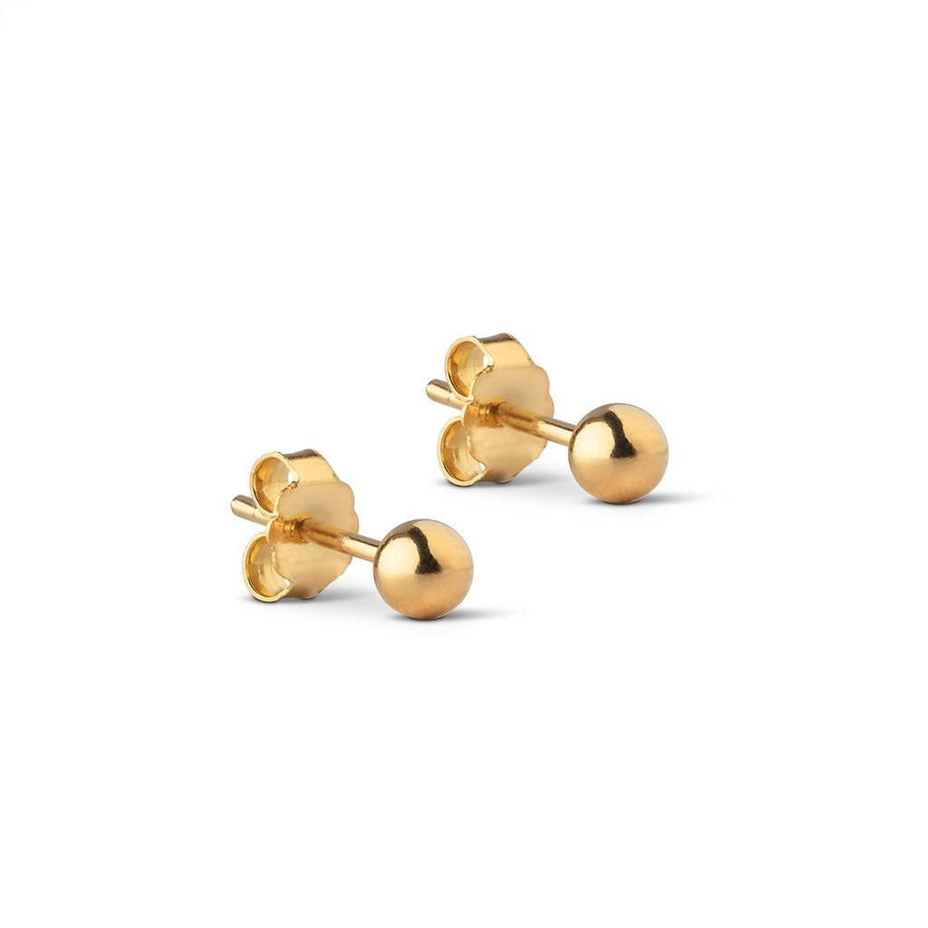 "Gold Plated Silver Studs ""Beads 4mm"""