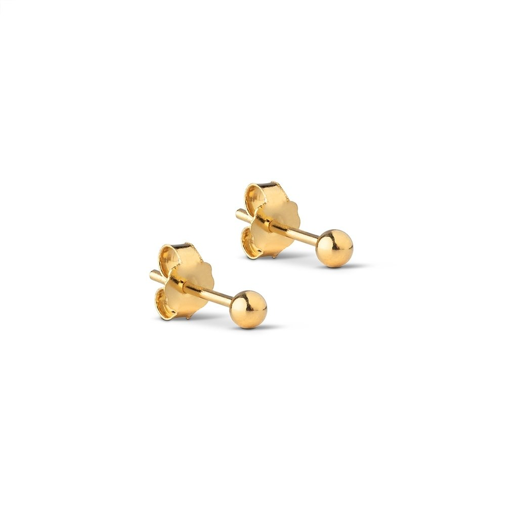 "Gold Plated Silver Studs ""Beads 3mm"""