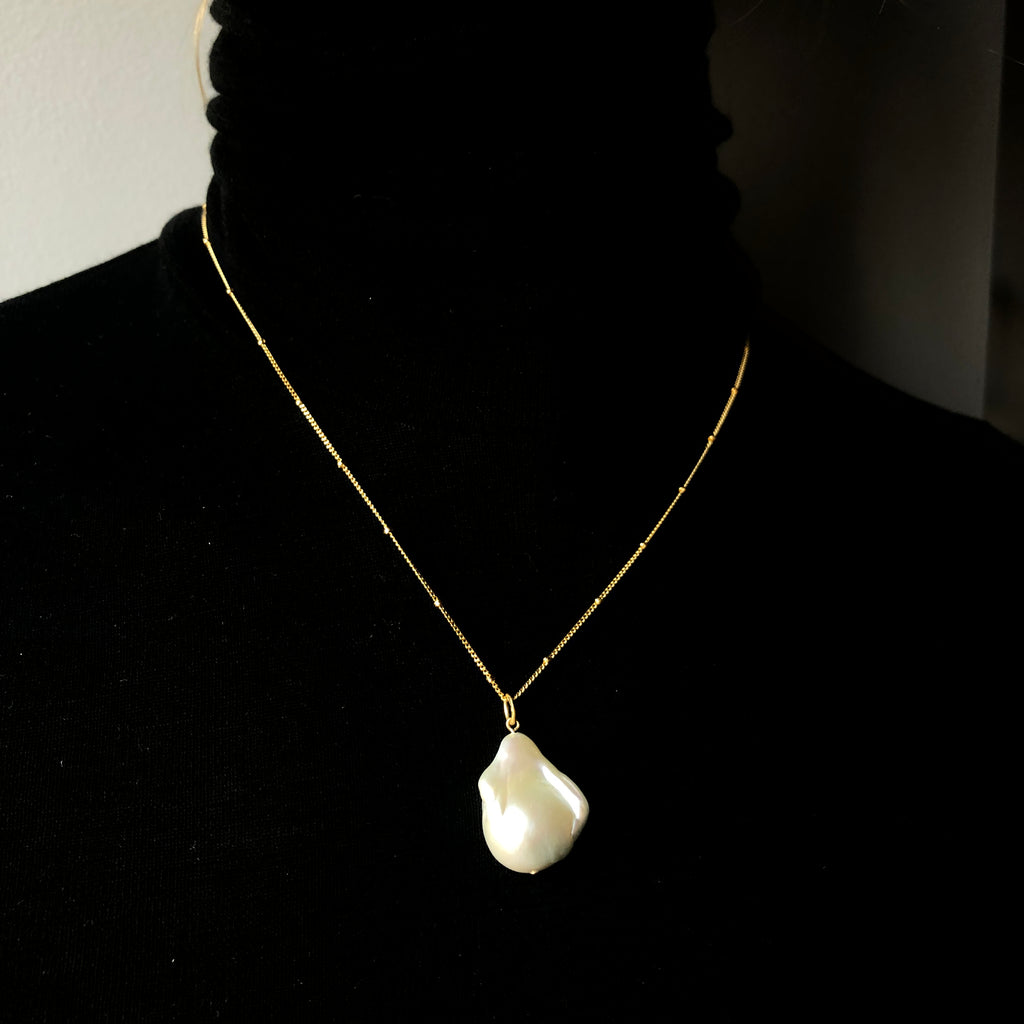 Gold Plated Silver Necklace With Baroque Pearl