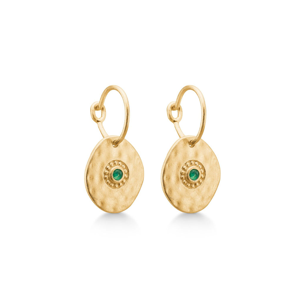 Gold Plated Earrings 'Esma' With Green Agate