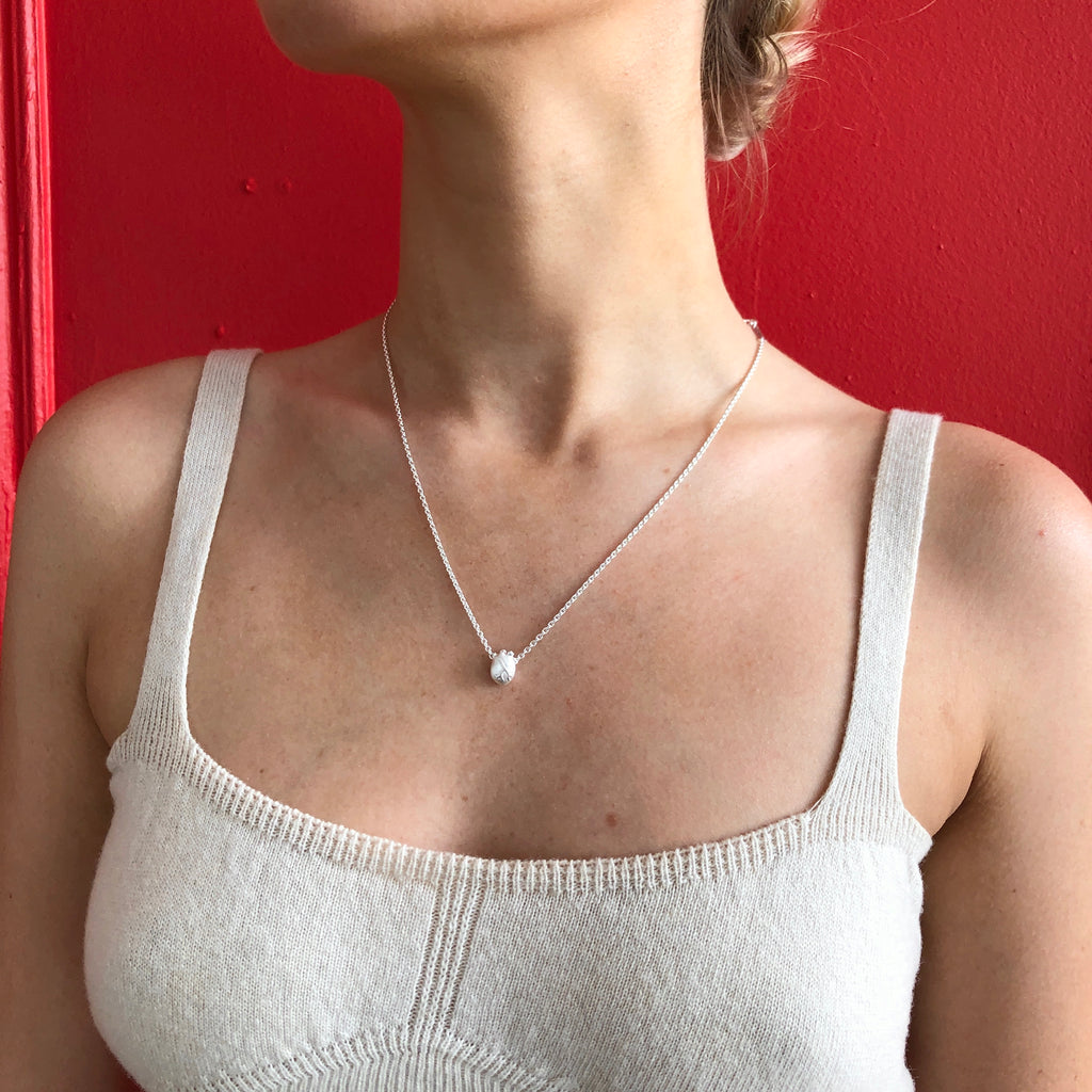 Small Silver Anatomic Heart Necklace