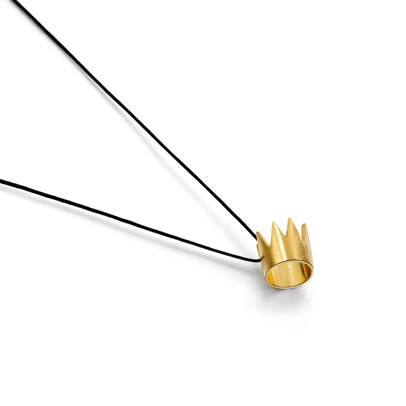 "Silver Pendant ""Gold Crown"""
