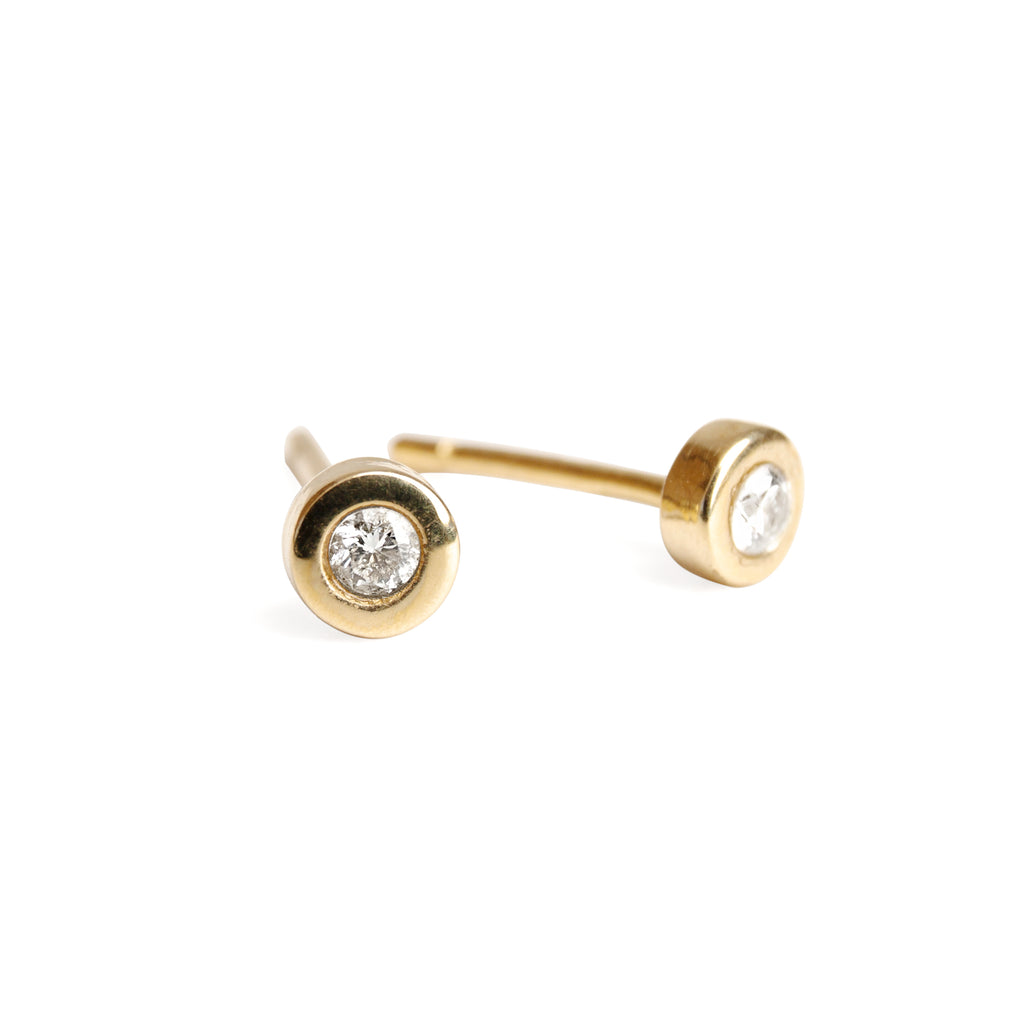 14k Gold Basic Stud Earrings with Diamonds