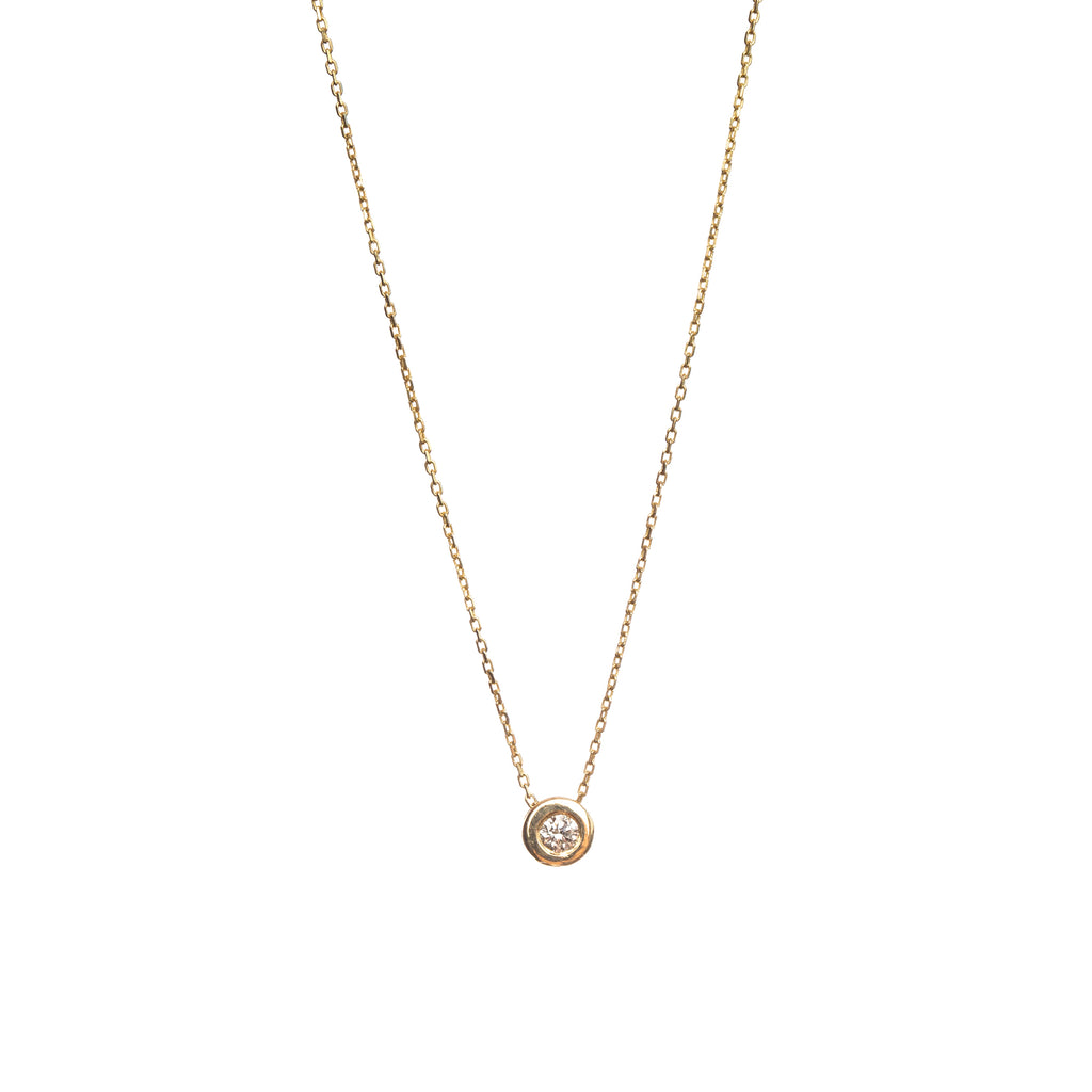 14k Yellow Gold Basic Choker with Diamond