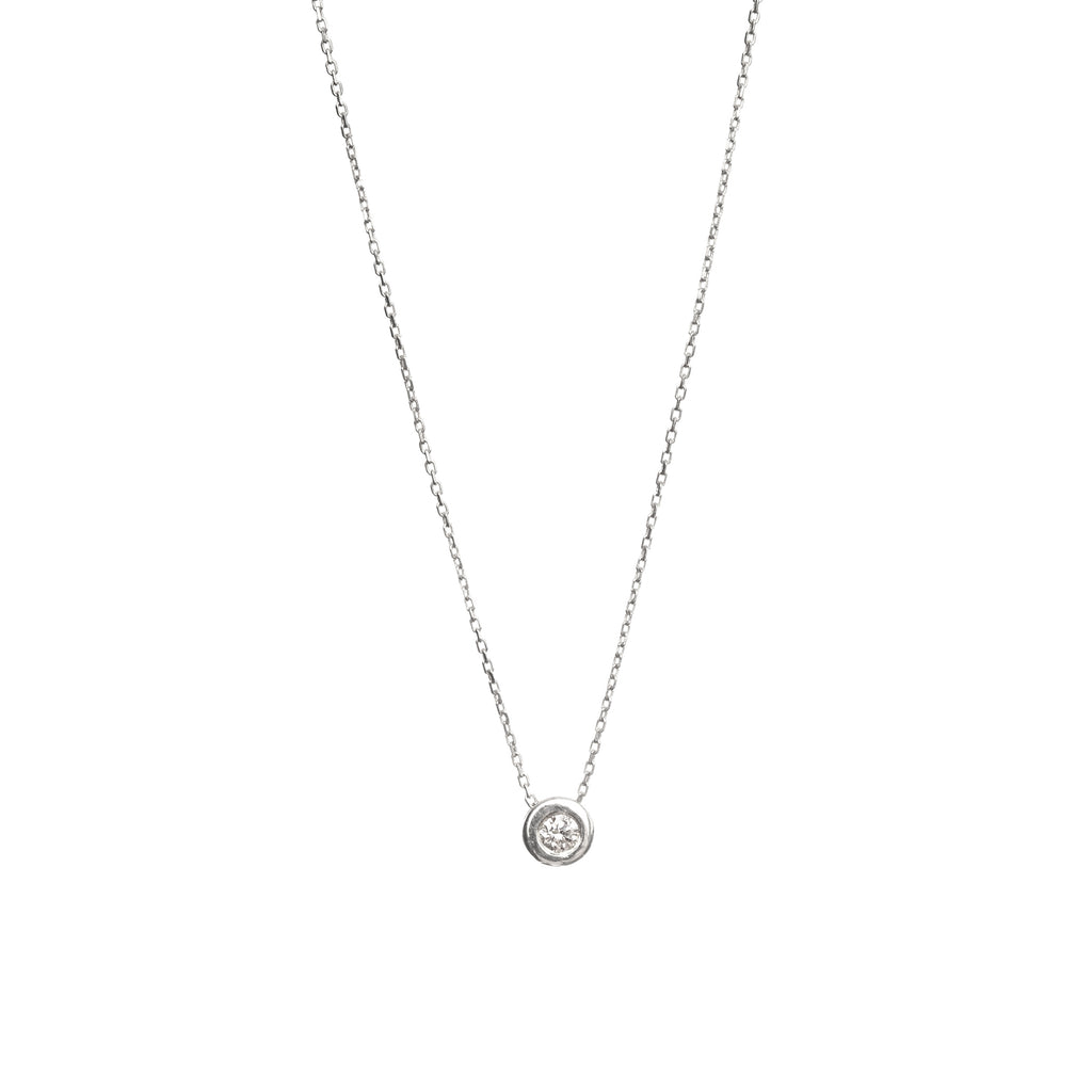 14k White Gold Basic Choker with Diamond