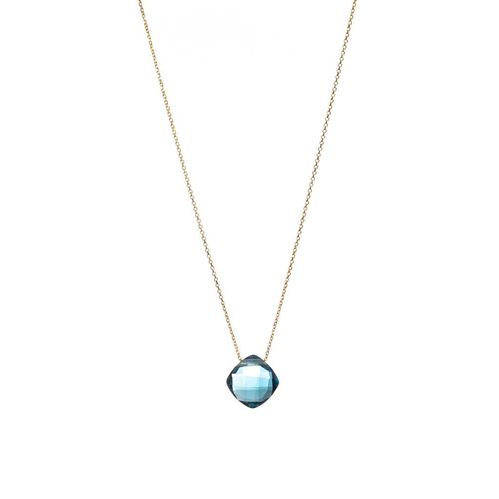 London Blue Topaz Pendant with Gold Chain