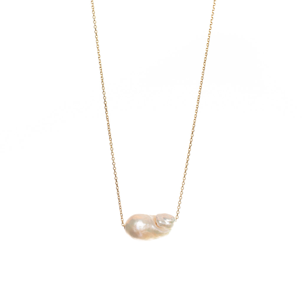 14k Yellow Gold Basic Pendant with Baroque Pearl