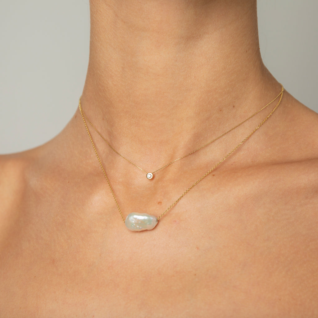 14k White Gold Basic Pendant with Baroque Pearl