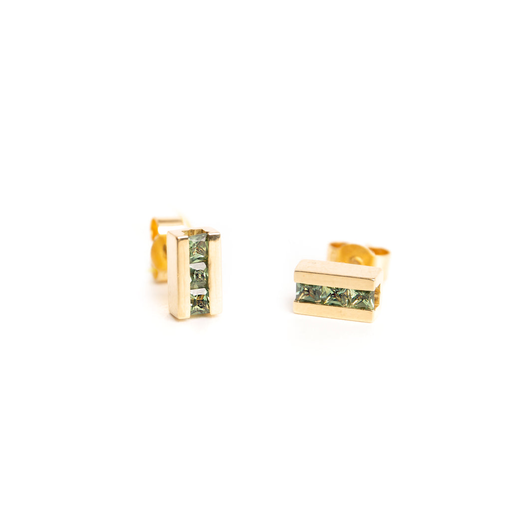 14k Gold Stud Earrings with Green Sapphires