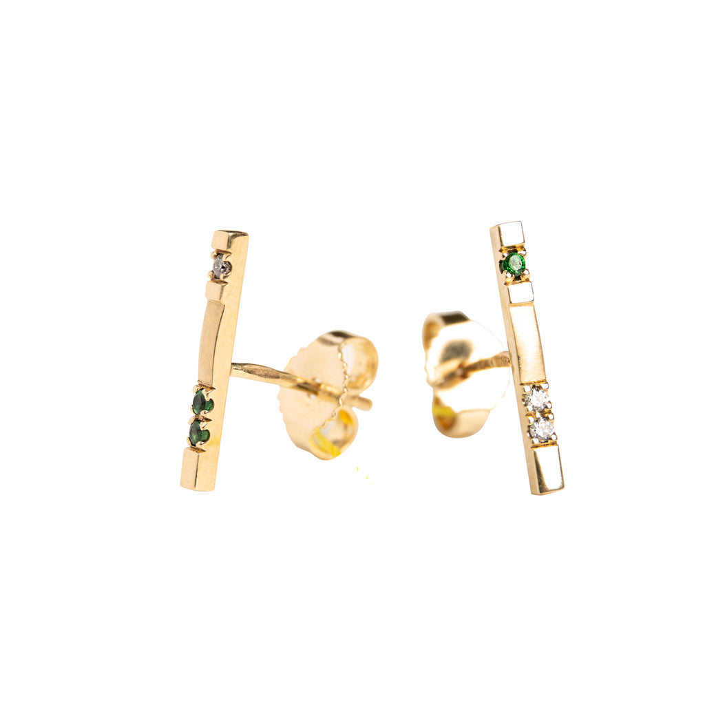 "14k Gold Diamond & Tsavorite Studs ""Gold Bars"""