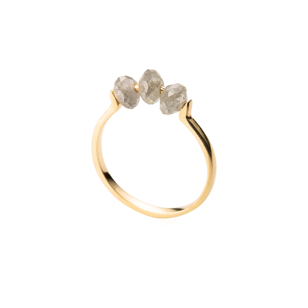 14k Gold Ring with Grey Diamonds