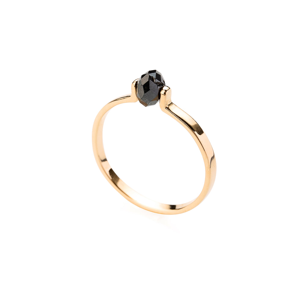 14k Gold Ring with Black Diamond