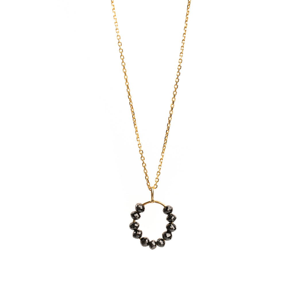 14k Gold Pendant with Black Diamonds