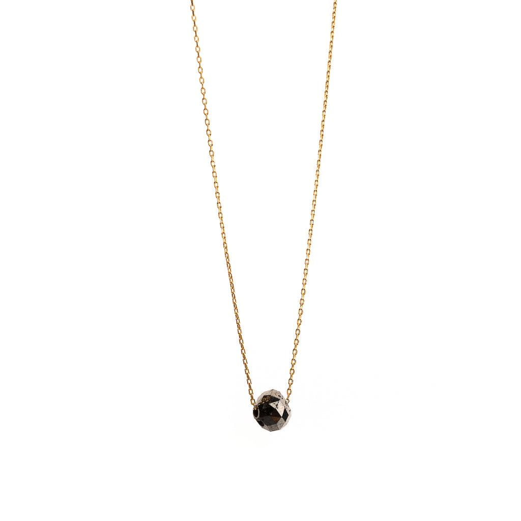 14k Gold Pendant with Black Diamond