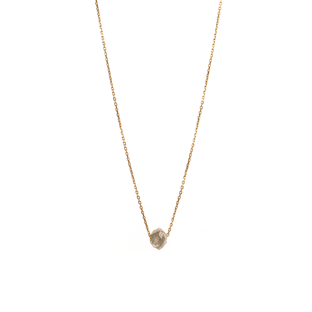 14k Gold Pendant with Grey Diamond