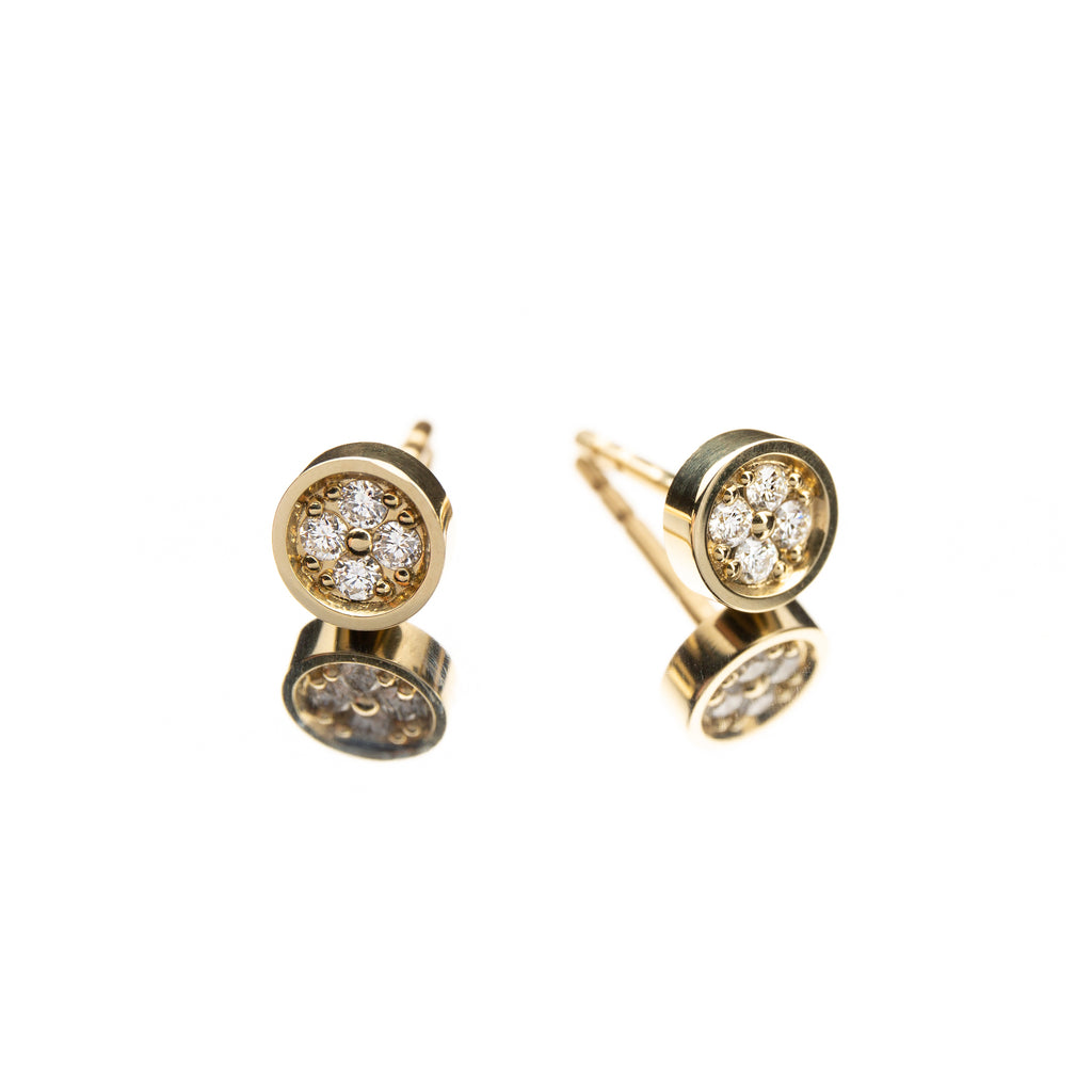 14k Gold Stud Earrings with White Diamonds