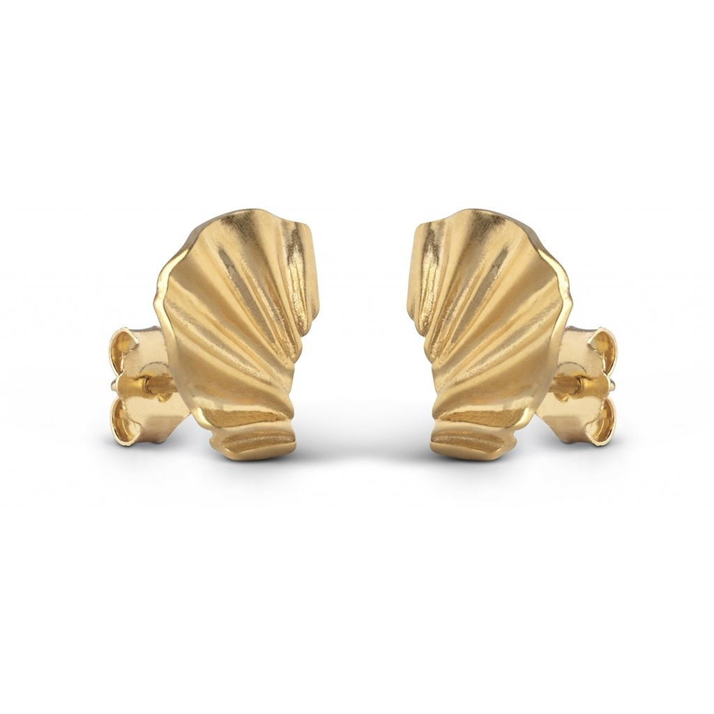 "Gold Plated Silver Earrings ""Mini Wave"""