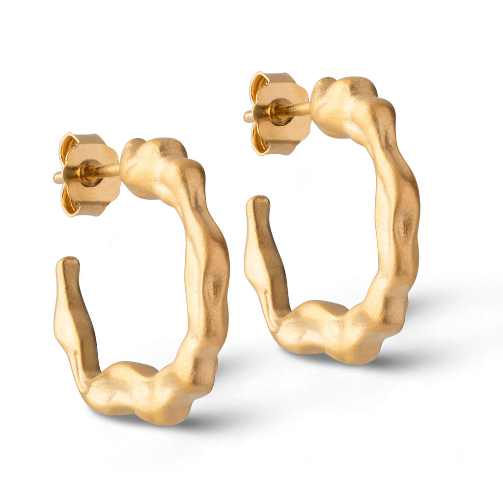 "18K Gold Plated Silver Hoop Earrings ""Leone"""