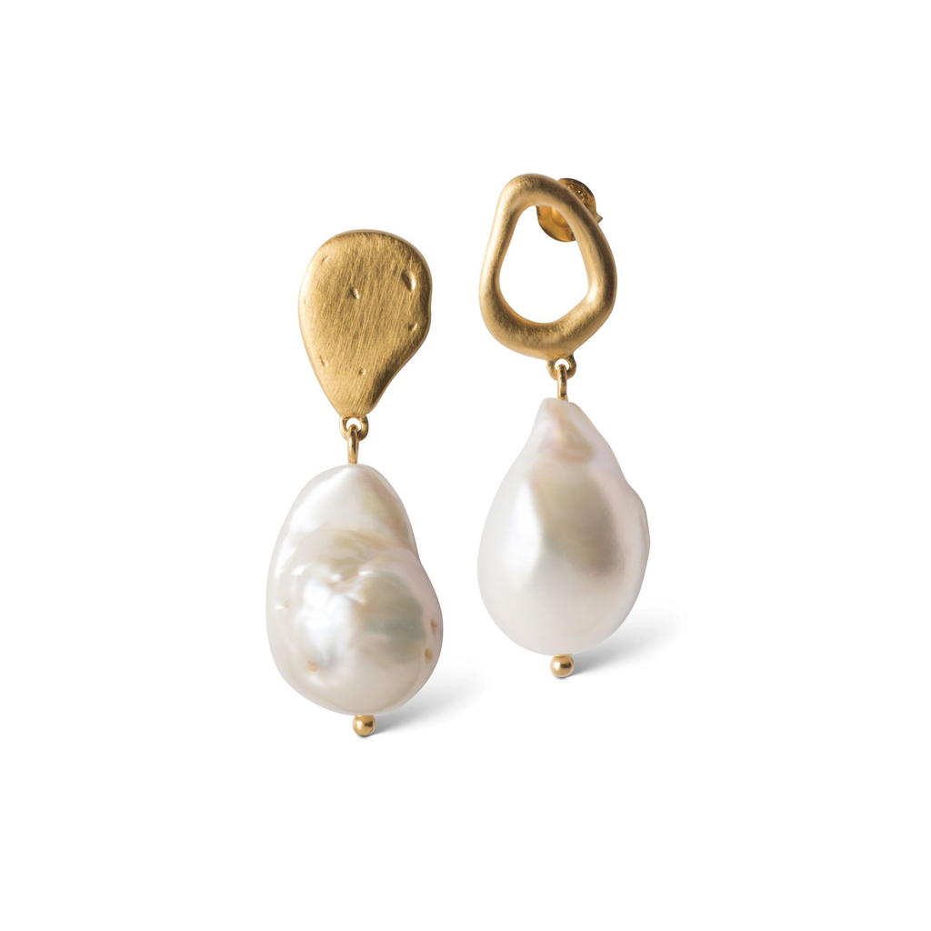 "Gold Plated Silver Earrings ""Baroque Pearl"""