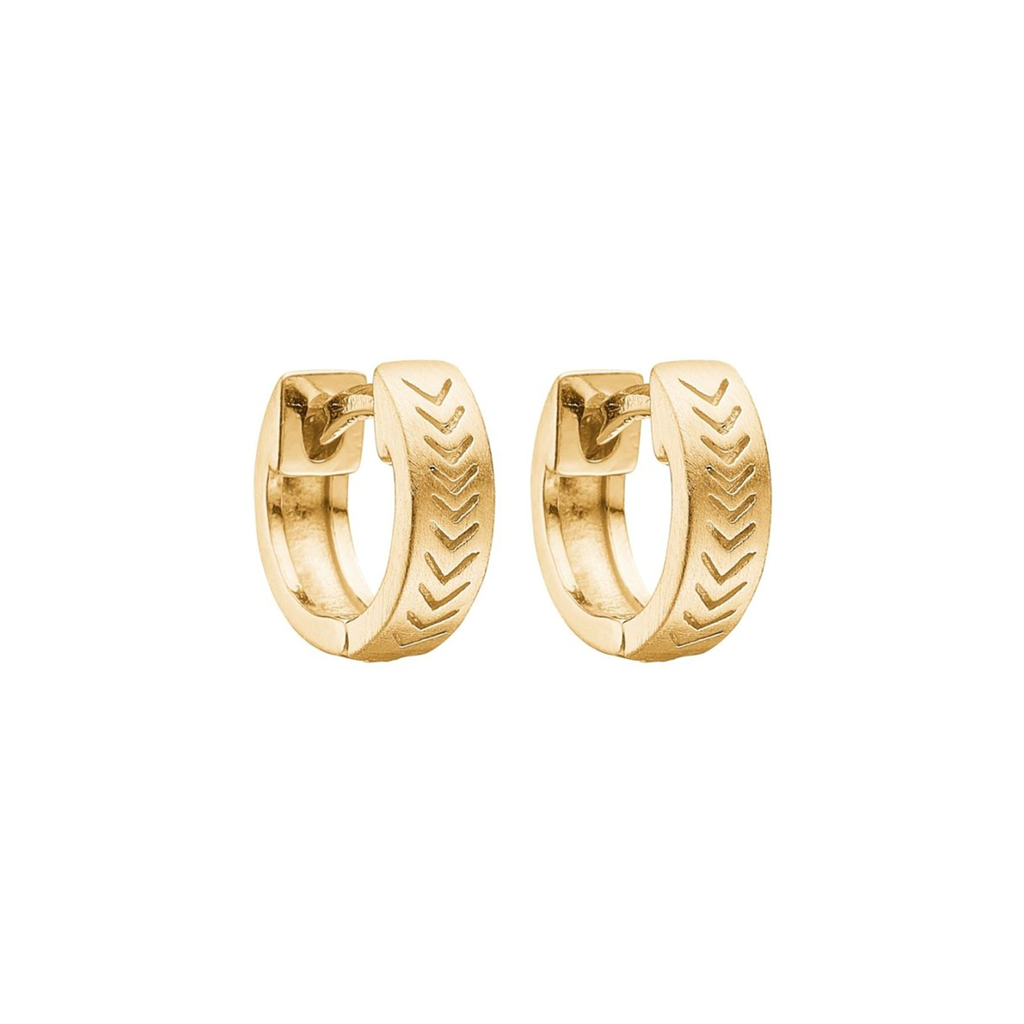 "Gold Plated Silver Hoops ""Herringsbone"""