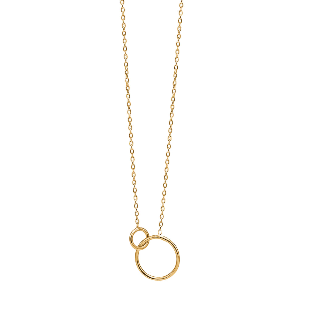 Gold Plated Necklace 'Double Circle'