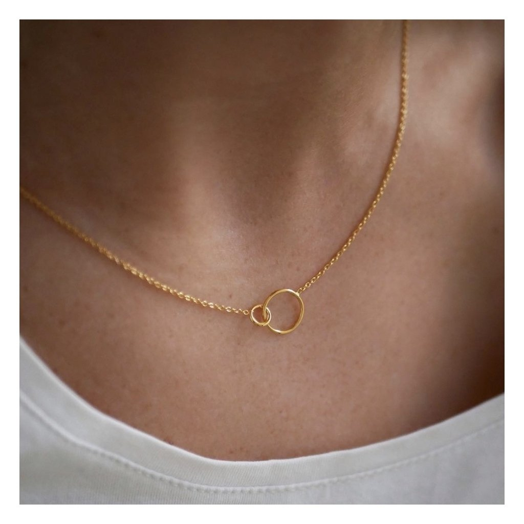 Silver Necklace 'Double Circle'