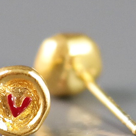 Gold Plated Silver Studs With Heart