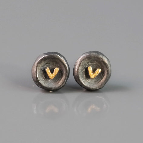 Oxidised Silver Studs With Heart