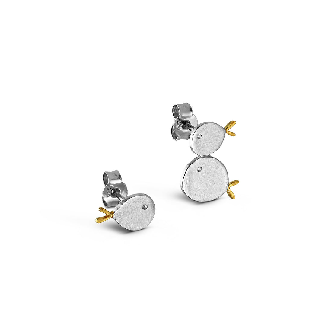 "Silver Stud Earrings ""Fishes"""