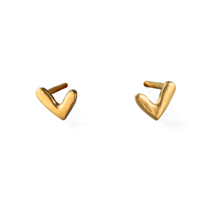 "Gold Plated Stud Earrings ""Gold Hearts"""