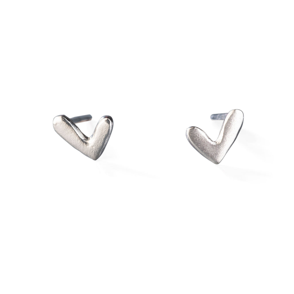 "Silver Stud Earrings ""Hearts"""