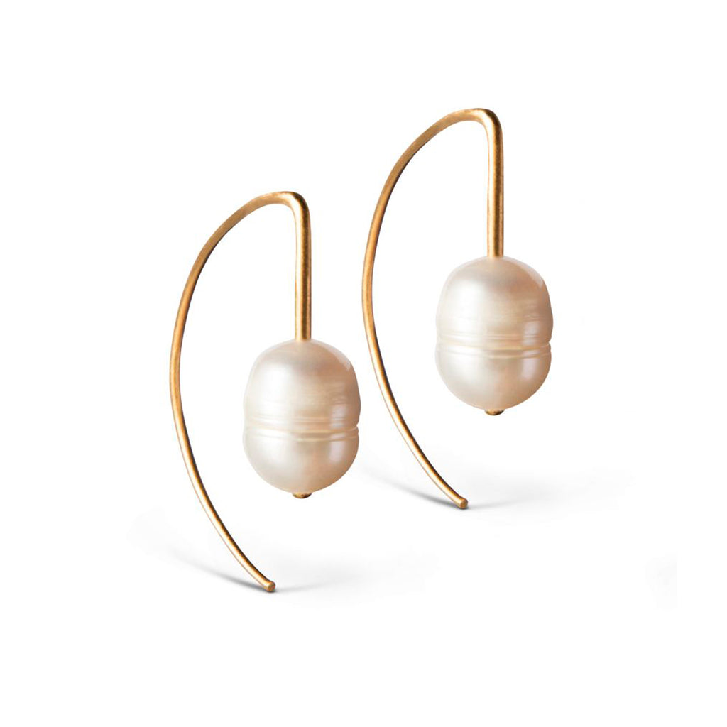 "Gold Plated Silver Earrings ""Edgy Pearl"""