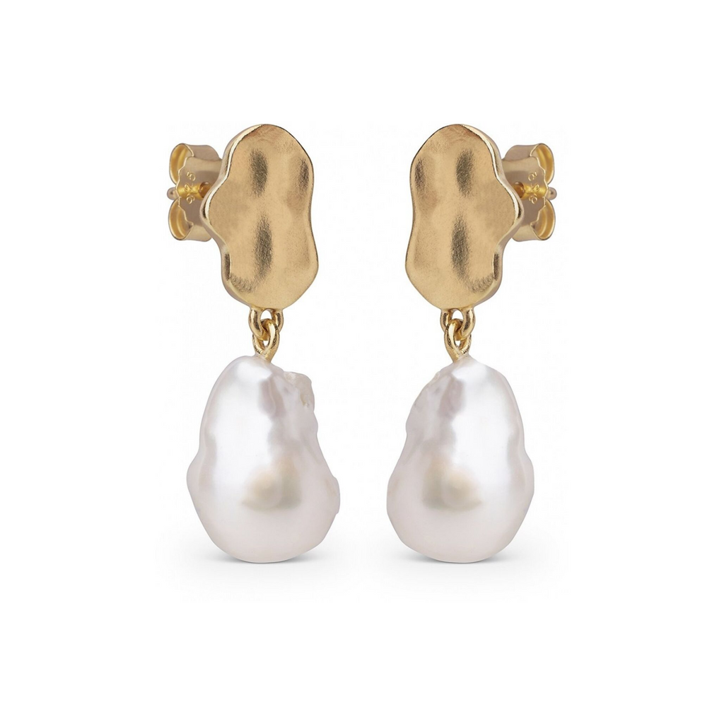 "Gold Plated Silver Earrings ""Small Baroque Pearl"""