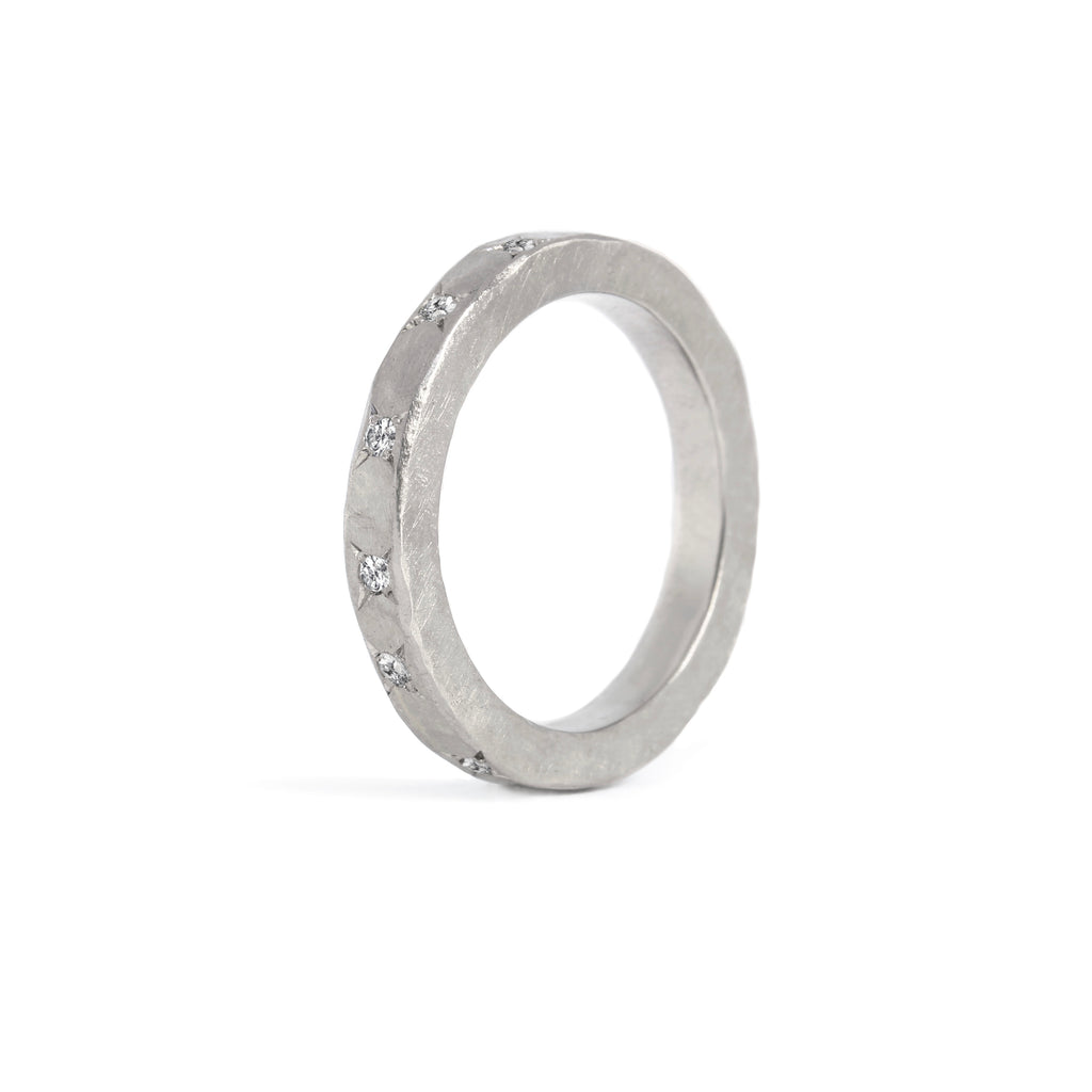 Paladium 14K White Gold Ring with 10 Diamonds
