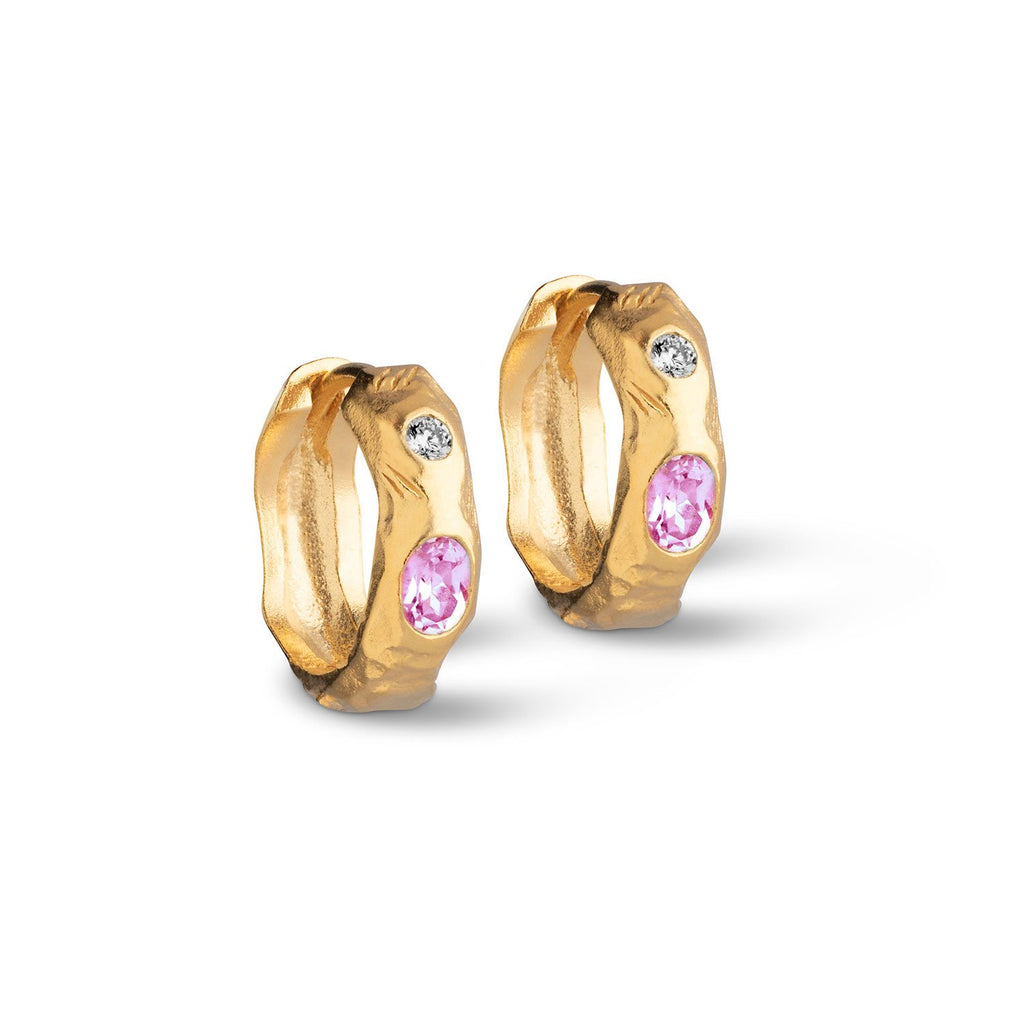 "Gold Plated Silver Earrings ""Leonora Pink"""