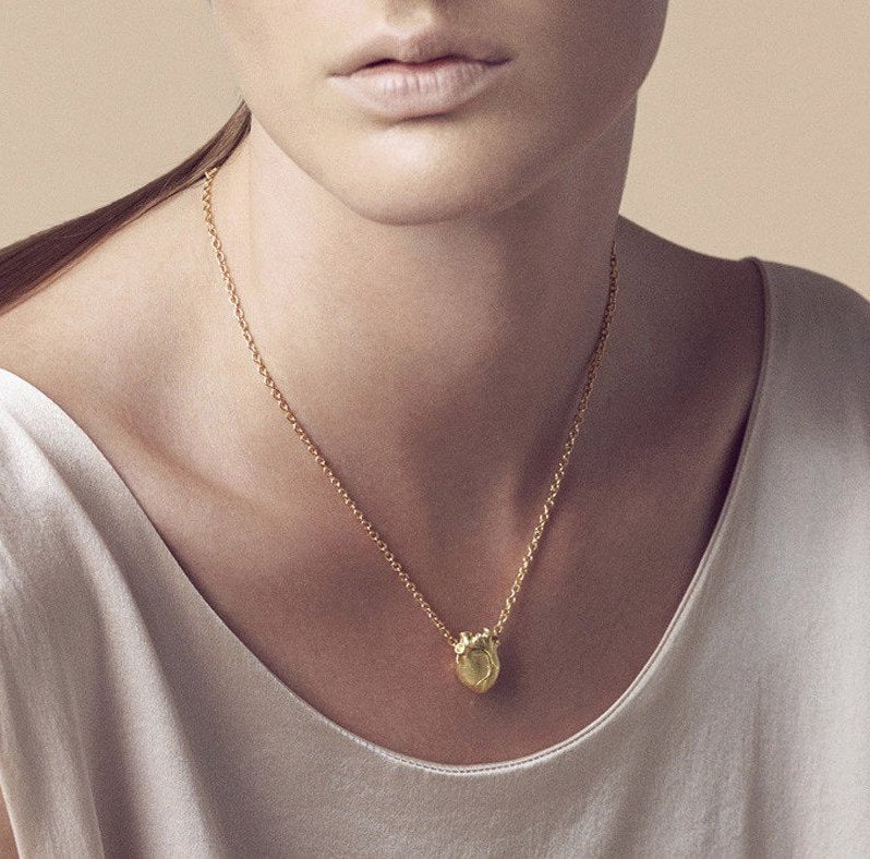 Gold Medium Anatomic Heart Necklace