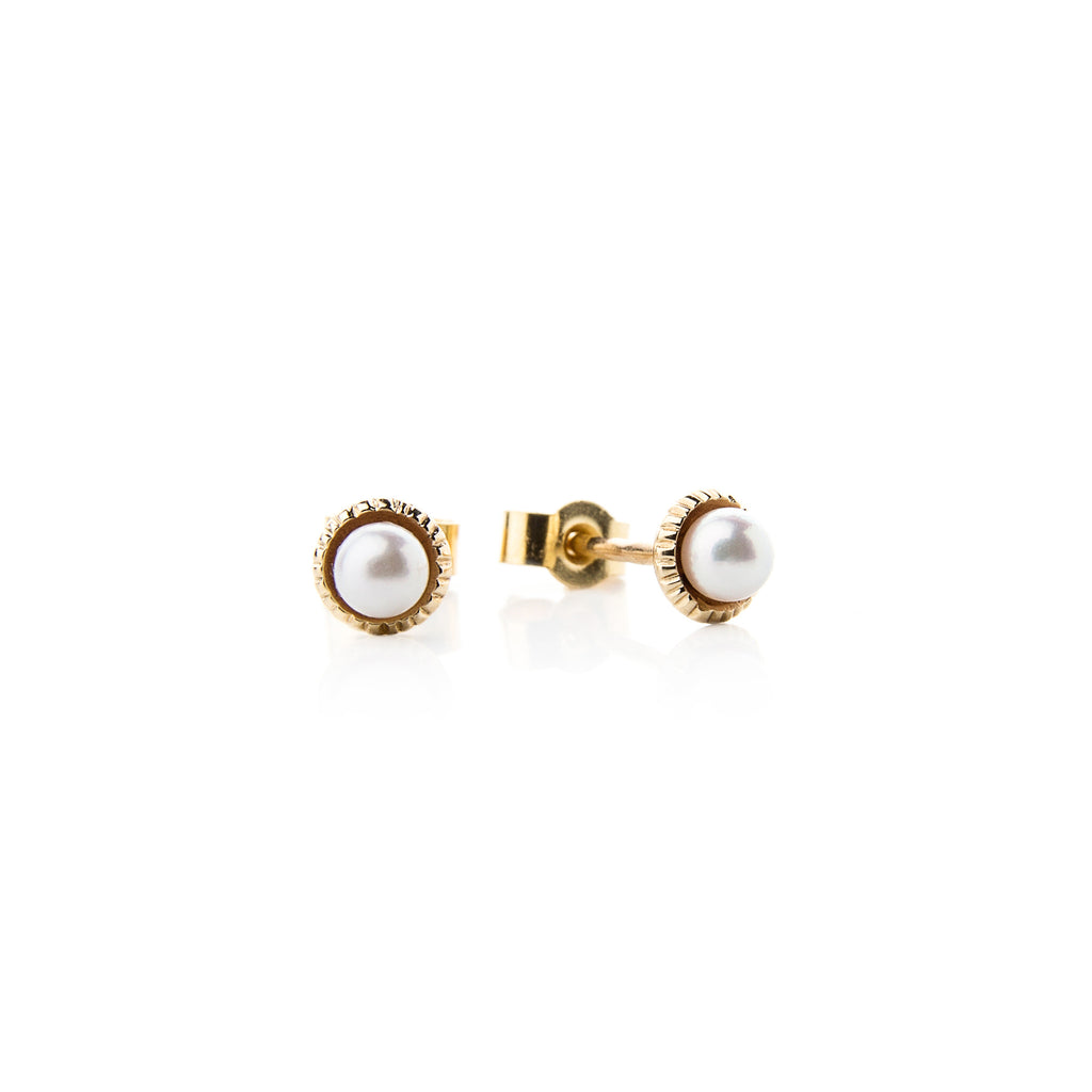 14k Gold Stud Earrings with White Akoya Pearls