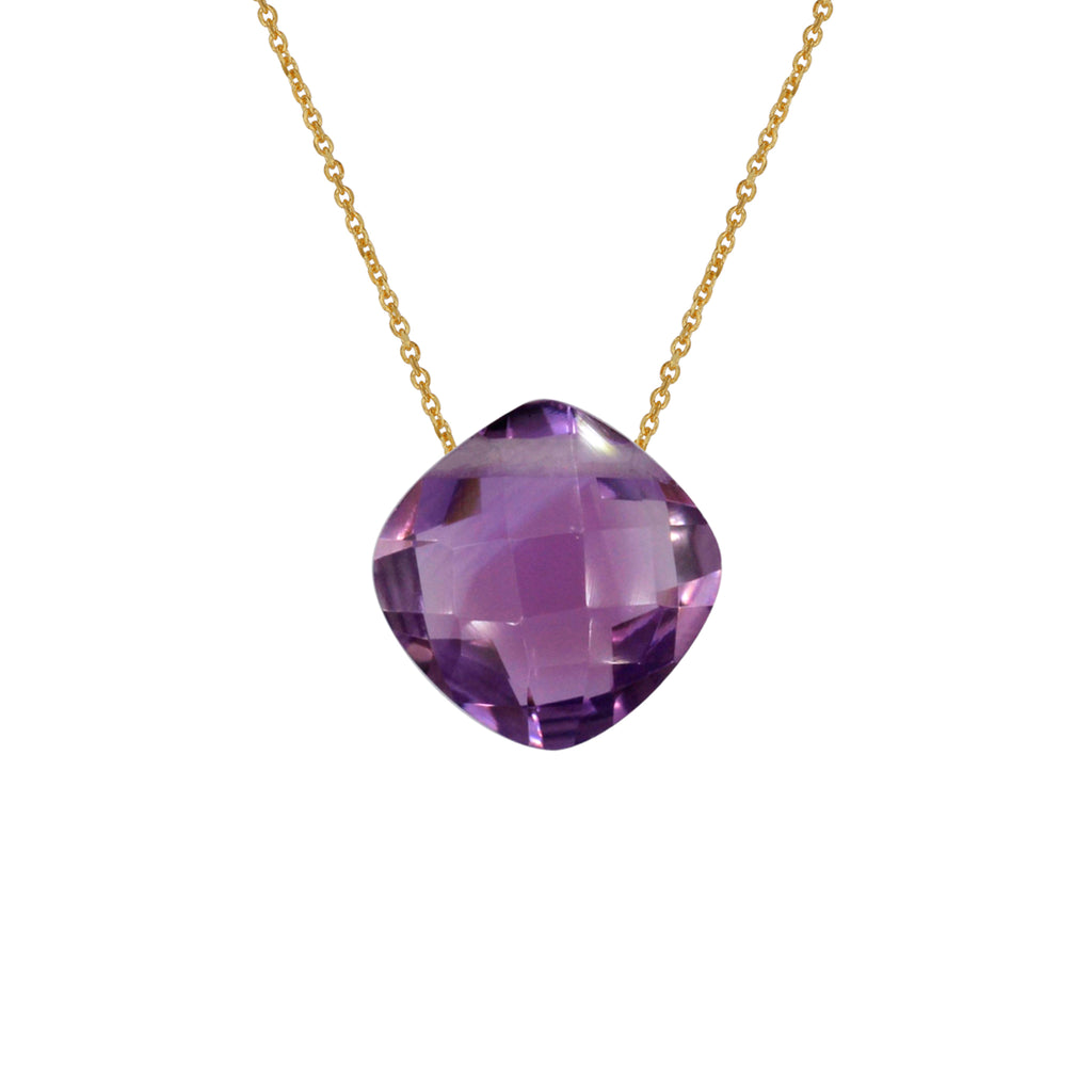 Amethyst Pendant with Gold Chain