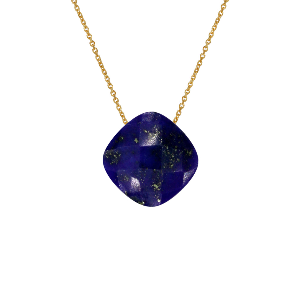 Lazurite Pendant with Gold Chain