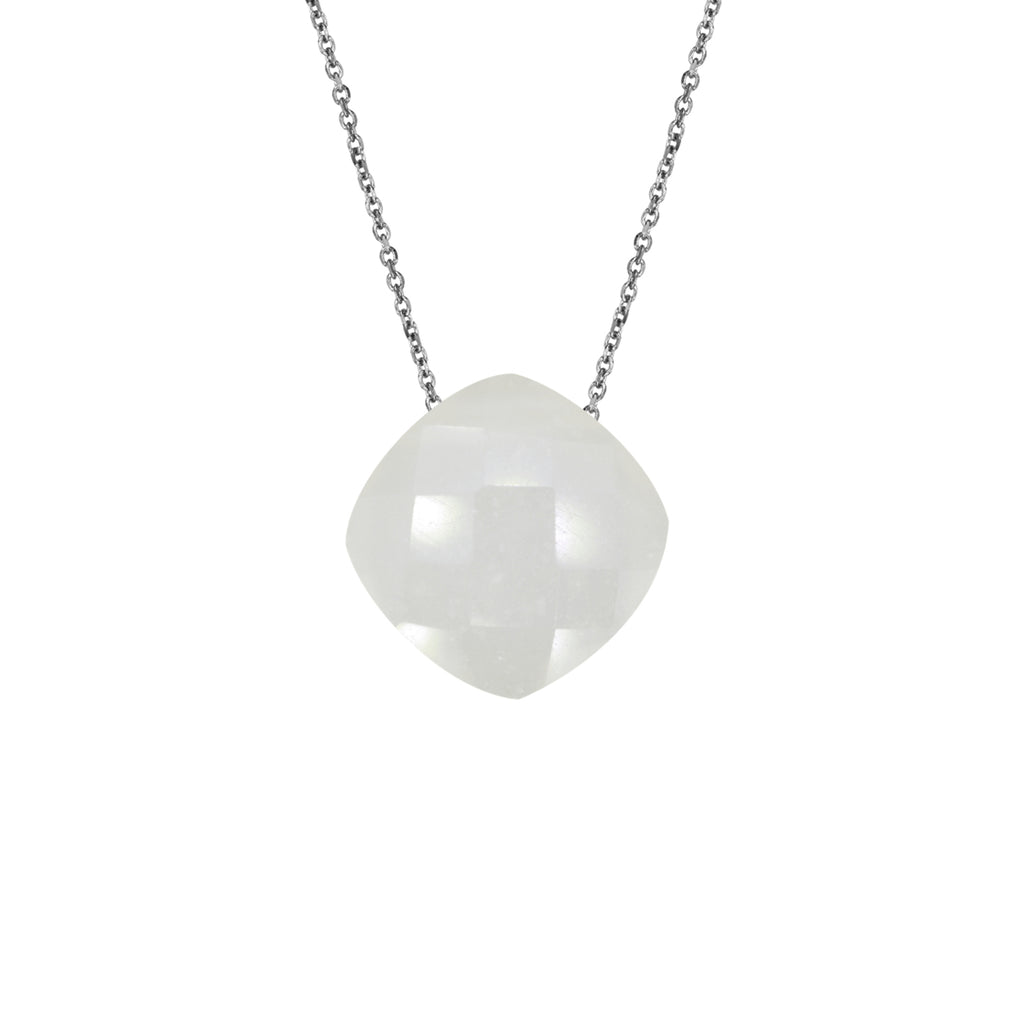 White Moonstone Pendant (8mm) with Silver Chain