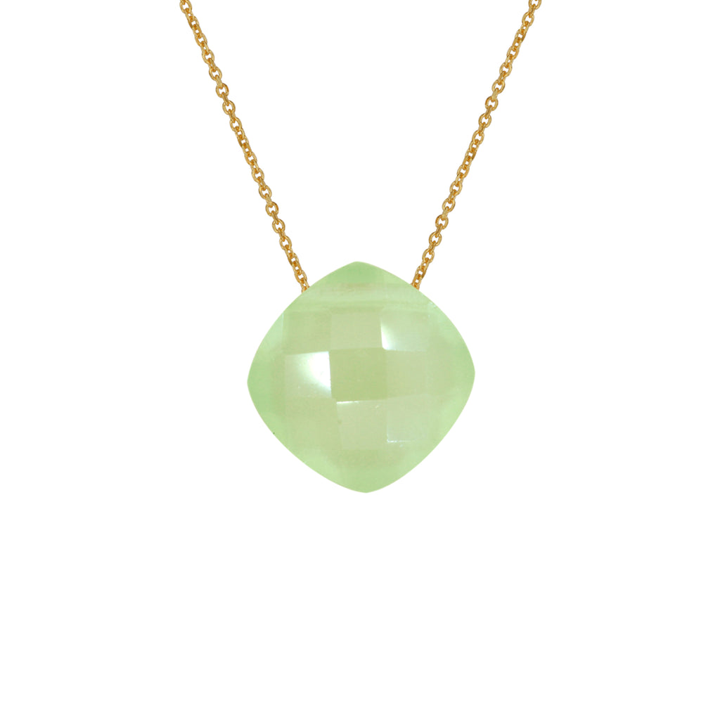 Prehnite Pendant (8mm) with Gold Chain