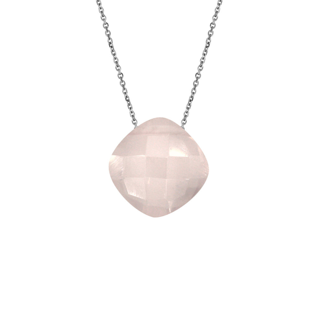 Rose Quartz Pendant (8mm) with Silver Chain