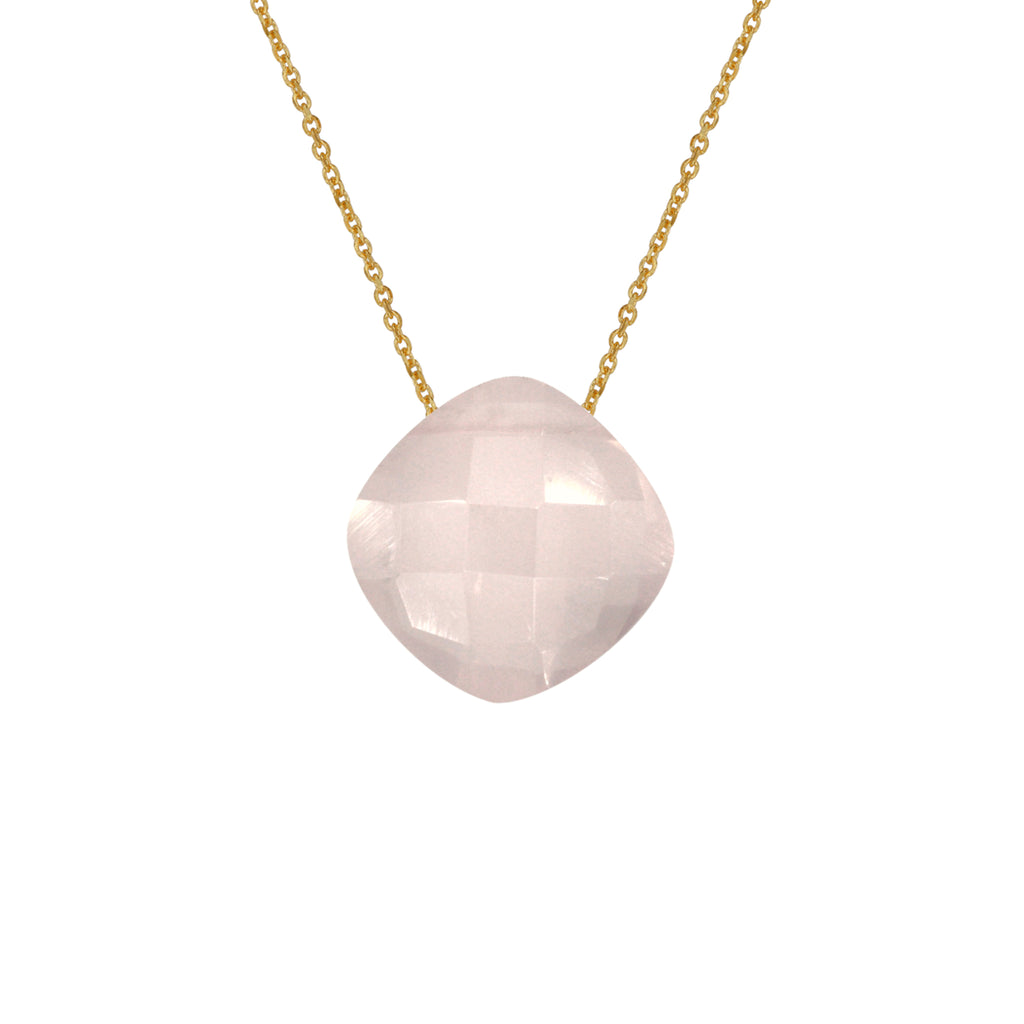 Rose Quartz Pendant with Gold Chain