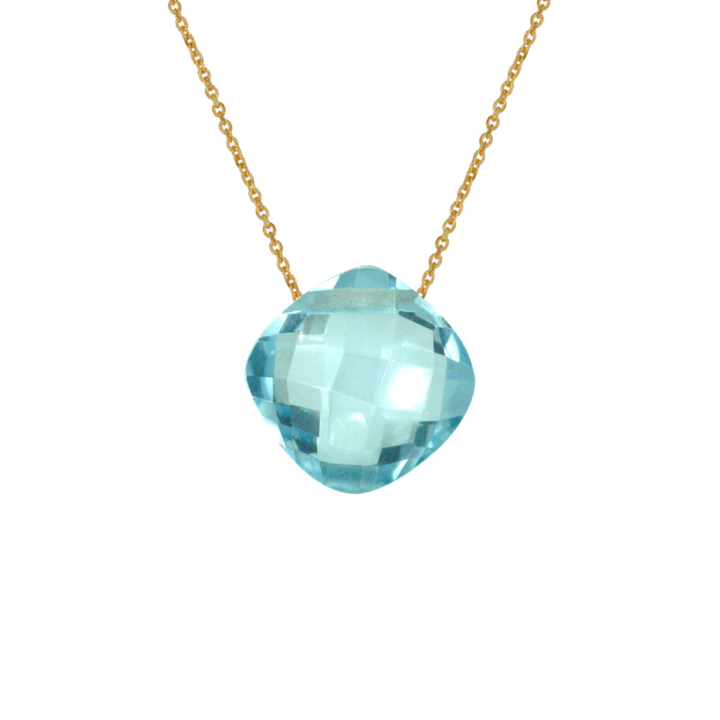 Topaz Pendant (10mm) with Gold Chain